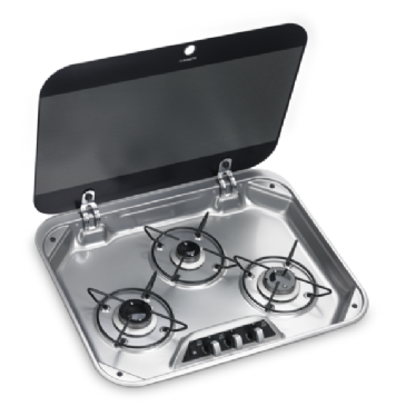 DOMETIC HBG 3440 THREE-BURNER GAS HOB WITH GLASS LID, 560 X 440 MM
